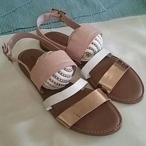 Rose Gold White Sandals